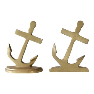 Vintage Mid-Century Nautical Brass Anchor Bookends - A Pair