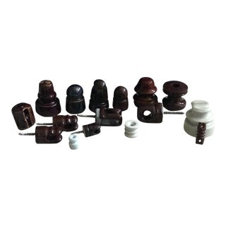 Brown & White Ceramic Telephone Insulators- Set of 16