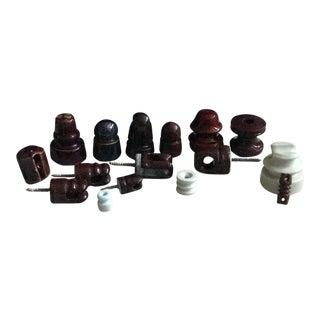 Brown & White Ceramic Telephone Insulators- Set of 16