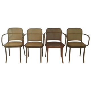 Vintage Stendig Thonet Bentwood Cane Chairs - Set of 4