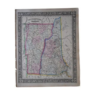 Antique Map of New Hampshire & Vermont