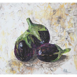 Eggplant Aubergine Still Life Painting by C. Plowden