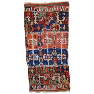 1860s Antique Turkish Anatolian Hand Made Kilim Rug- 2′8″ × 6′