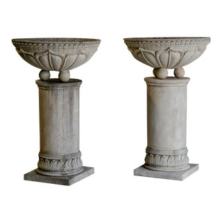 Pair of Vintage French Circular Basins atop Columns, Relief Decoration
