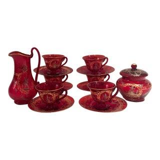 Venetian Glass Hand Painted 22k Gold Tea Set - 15 Pieces