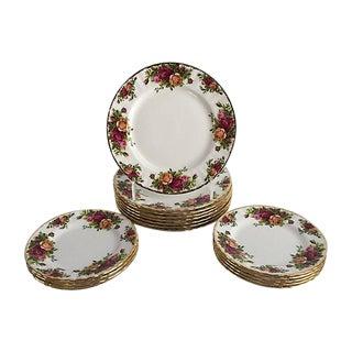 Rose Floral English Porcelain Plates - Set of 16