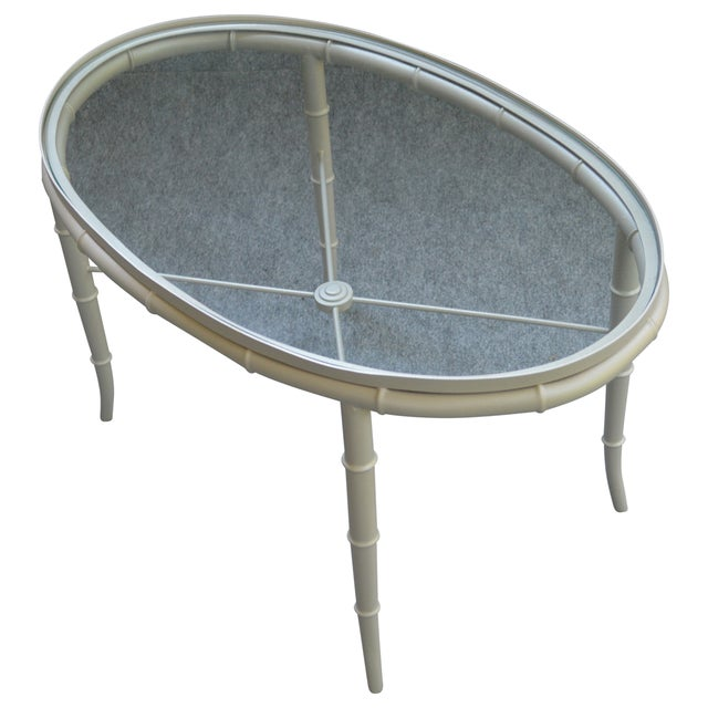 Image of Faux Bamboo Brass Cocktail Table in Champagne