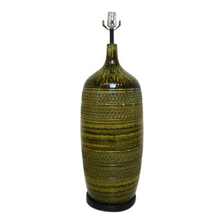 Mid-Century Bitossi Pottery Style Green Ceramic Textured Table Lamp