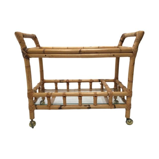 Vintage Bamboo Bar Cart - Image 1 of 5