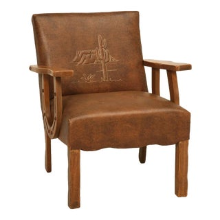 "Original Vintage Cowboy ""Ranch Oak"" Armchair w/Horseshoe Arms & Cactus, Too"