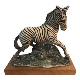 Vintage Composite Zebra on Wood
