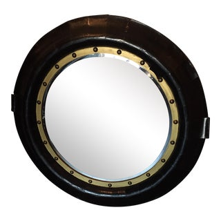 Round Painted Leather Mirror