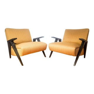 Mid-Century Modern Tan Lounge Chairs - A Pair