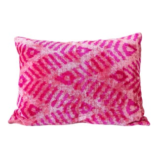 Hot Pink Silk Velvet Ikat Pillow