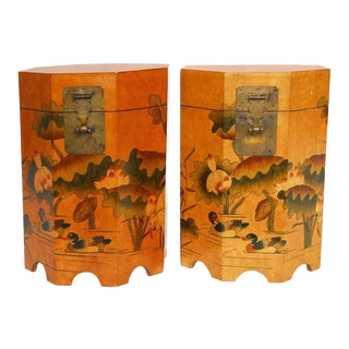 Pair of Chinese Lacquered Octagonal Drinks Tables