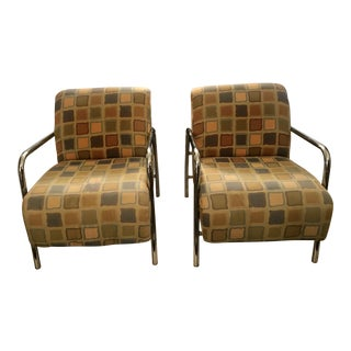 Mid-Century Art Deco Style Chrome Chairs- A Pair