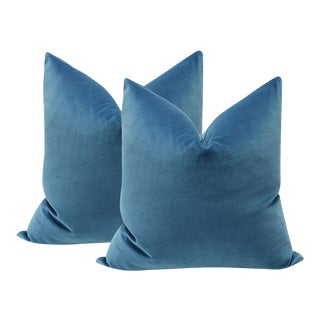 "20"" Cadet Blue Velvet Pillows - A Pair"