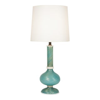 Turquoise Swirl Glass Table Lamp by Venini, 1940s