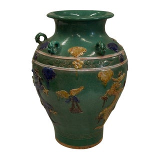 Hand Painted Green Ceramic Vase
