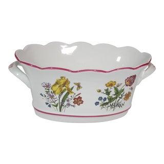 Oval Floral Cache Pot