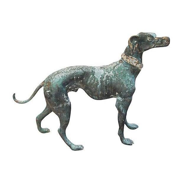 Image of Antique Bronze Greyhound Dog Garden Statue