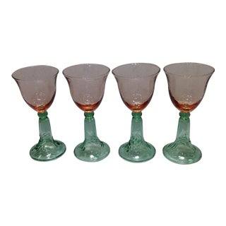 Pink & Green Glass Goblets - Set of 4
