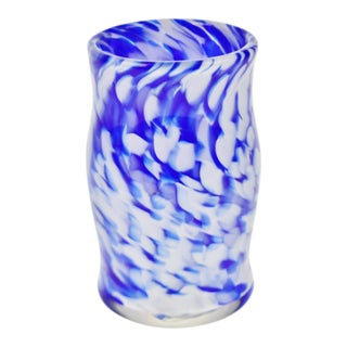 Blue & White Hand-Blown Art Glass Vase or Cup