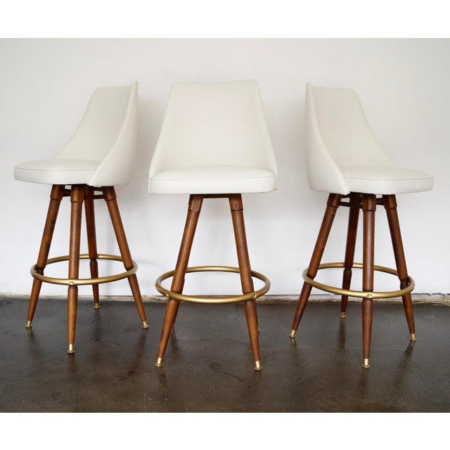 Mid-Century Hollywood Regency Bar Stools - Set of 3 - Image 2 of 11