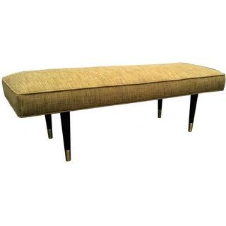 Mid-Century Modern Green Upholstered Bench