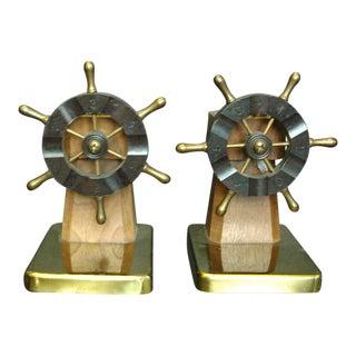 1930s Brass Ship Wheel Bookends - A Pair