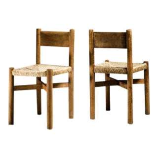 Charlotte Perriand Pair of Rare and Early Courchevel Chairs, France, 1940s