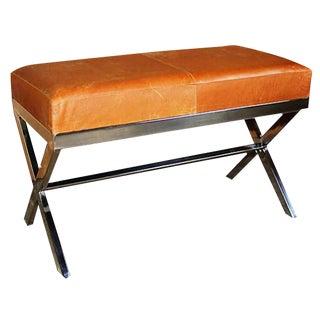 Taylor Burke Modern Medium Vintage Leather X Bench