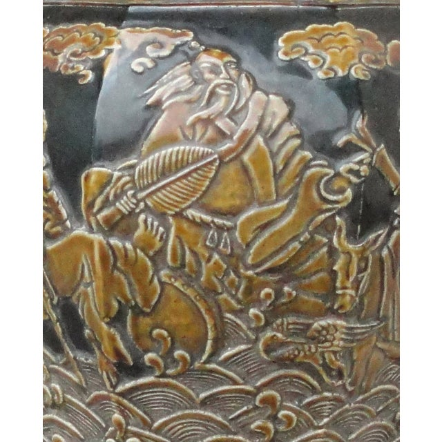 Chinese Eight Immortals Octangle Porcelain Vase - Image 4 of 10