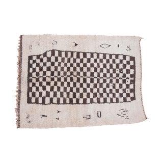 "Vintage Checkered Moroccan Rug - 4'11"" X 6'8"""