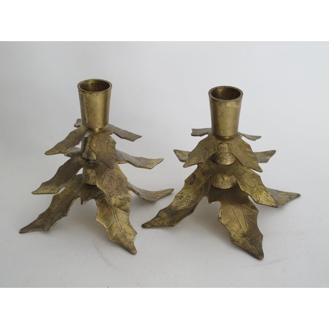 Image of Brass Holly Leaf Candleholders - A Pair