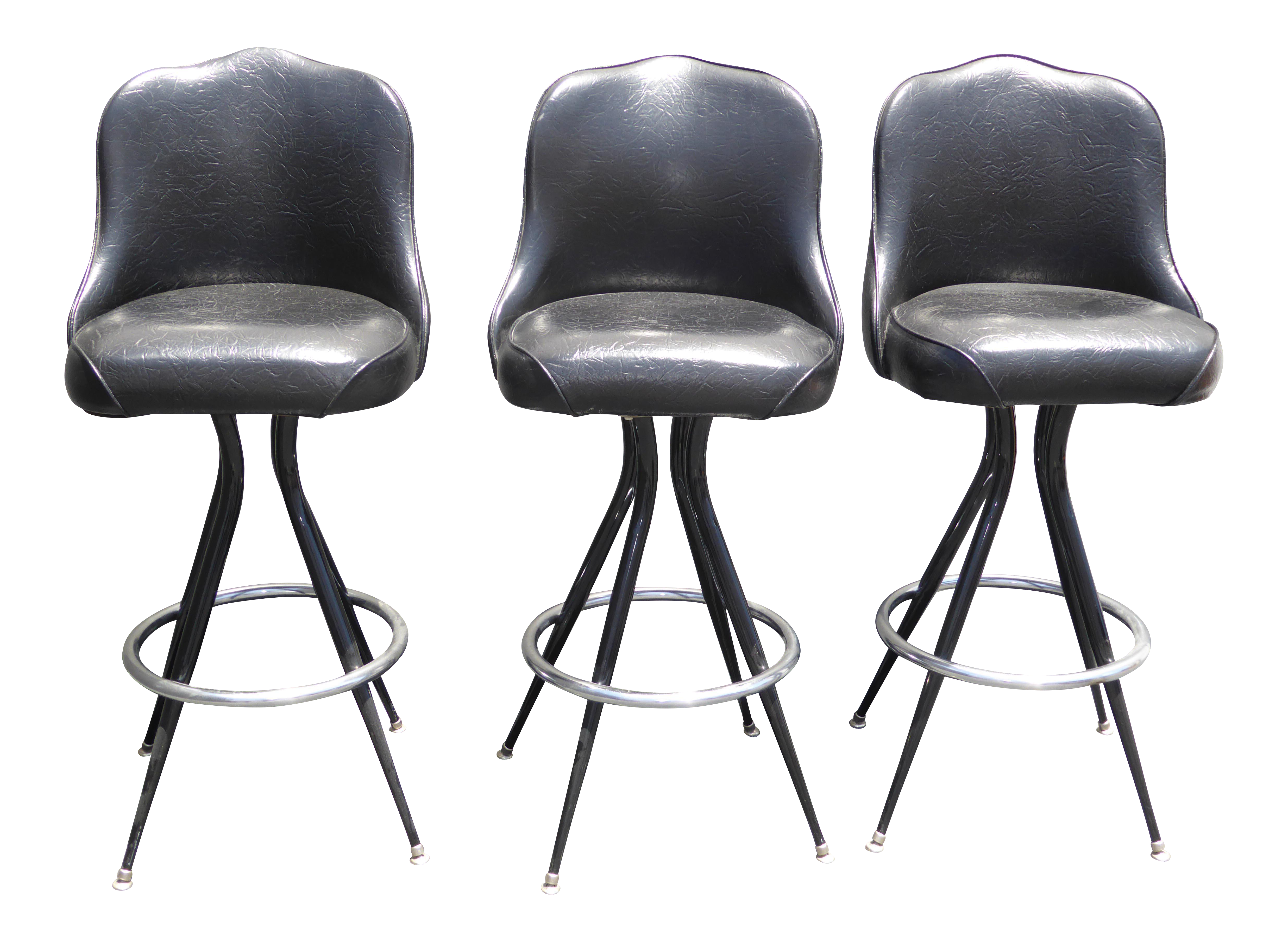Vintage Mid-Century Modern Black Vinyl u0026 Chrome Swivel Bar Stools - Set ...  sc 1 st  Chairish & Vintage u0026 Used Silver Bar Stools | Chairish islam-shia.org