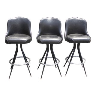 Vintage Mid-Century Modern Black Vinyl & Chrome Swivel Bar Stools - Set of 3