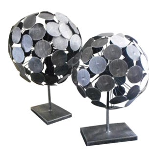Abstract Industrial Metal Orb Sculptures- A Pair
