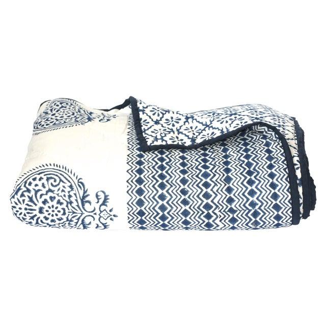 Image of Blue Block-Printed Quilt - Full