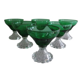 Vintage Emerald Green Coupes - Set of 6