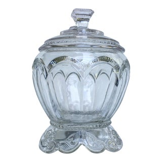 Vintage Clear Pressed Glass Candy Dish With Lid