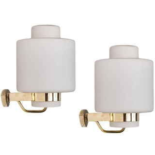 Large Stilnovo Brass & Glass Sconces C. 1950s - A Pair