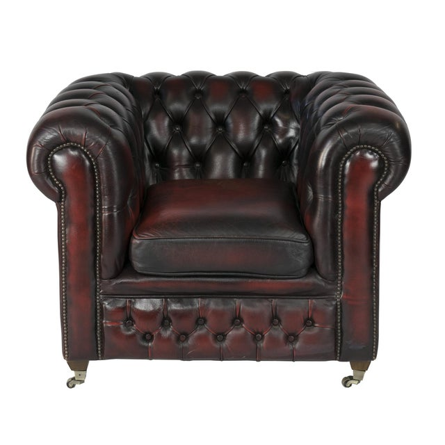 Image of Vintage 1970s Leather Chesterfield Club Chair