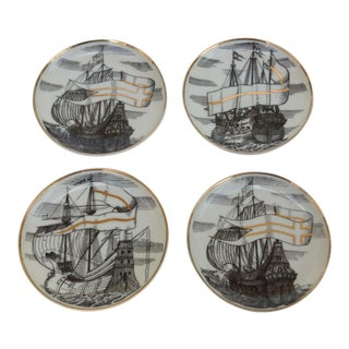 "Fornasetti Tall Ships ""Velieri"" Coasters - Set of 4"