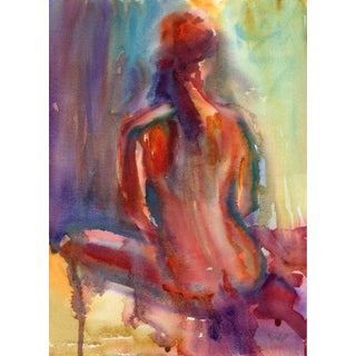 Sitting Nude Watercolor Painting