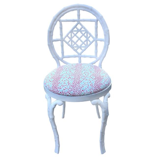 Image of Kessler White Metal Bamboo-Style Vanity Chair