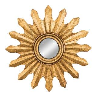 Antique Italian Starburst Convex Gold Leaf Mirror circa 1880 (42″ diameter)