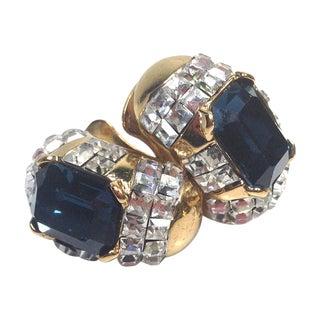 Vogue Bijoux Blue Rhinestone Earrings