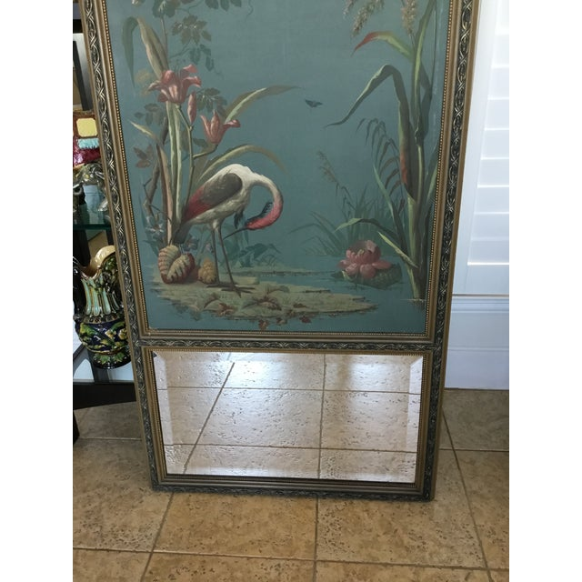 Image of Antique Hand Painted Stork on Canvas Mirror