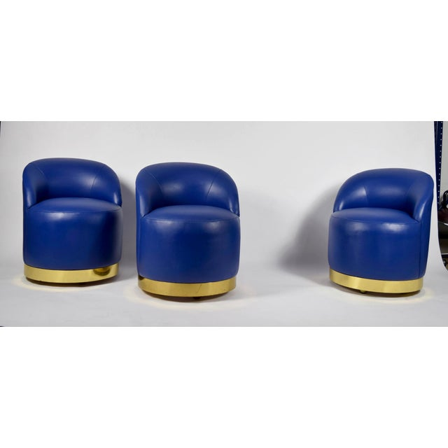 Karl Springer Style Chairs in Blue Leather with Brass Finish Base on Casters - Image 4 of 7